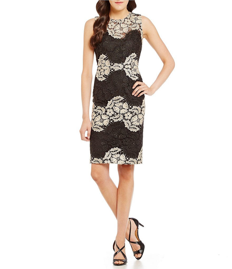Calvin Klein Mixed Lace Short Social Sheath Dress