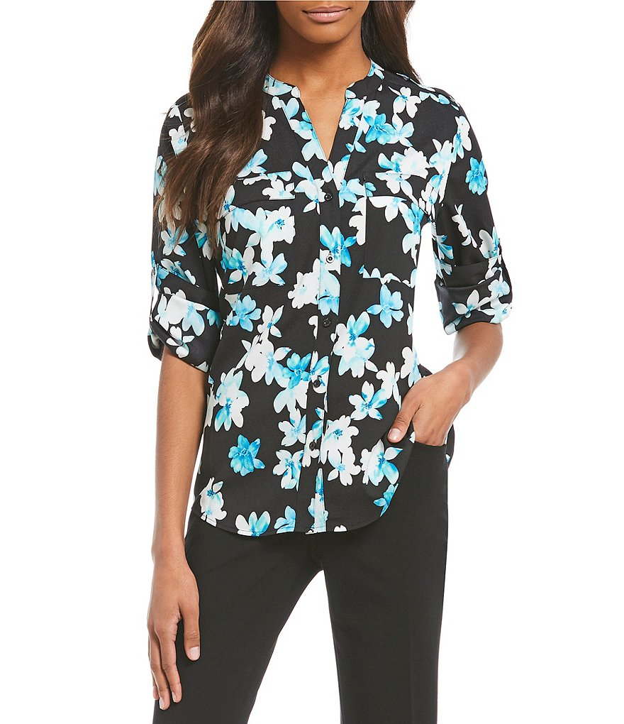 Calvin Klein Multi Floral Print Roll-Sleeve Blouse