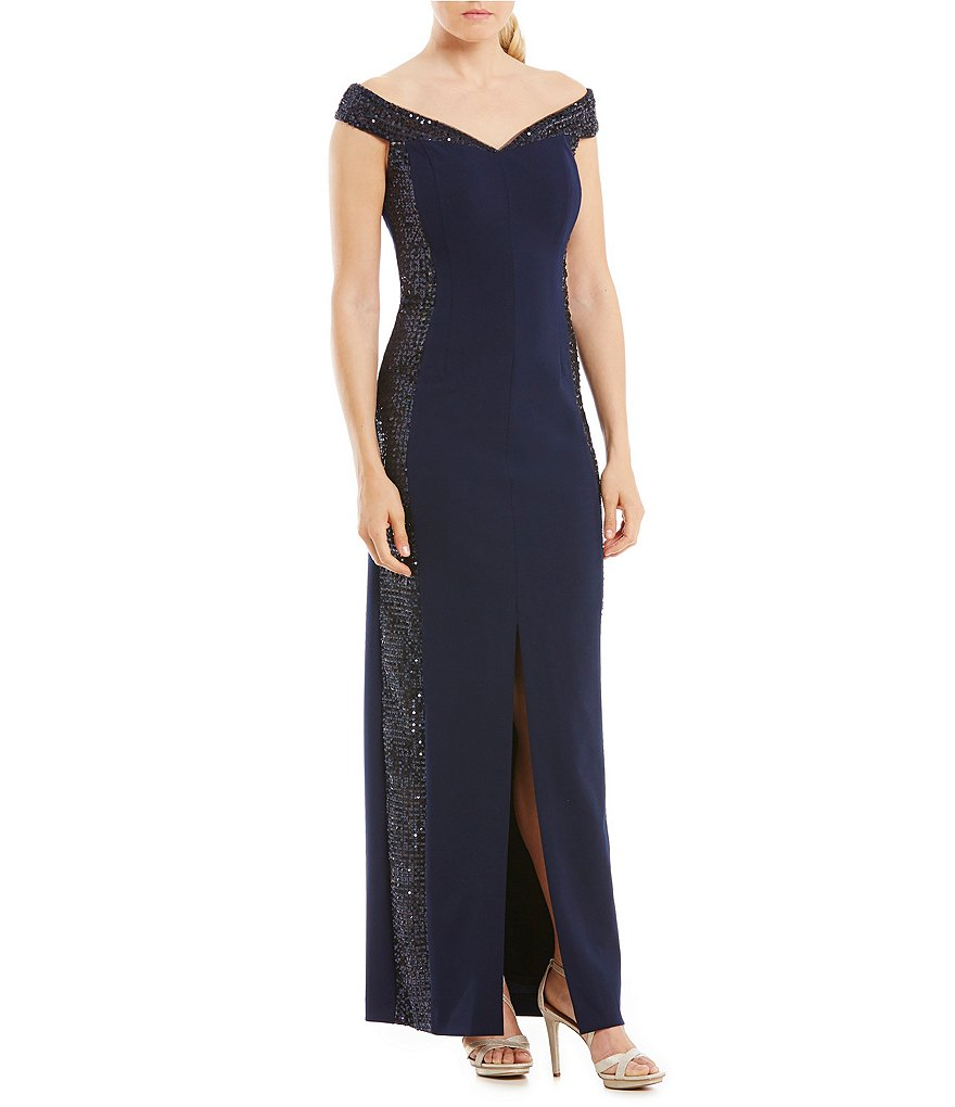 Calvin Klein Off-the-Shoulder Beaded-Panel Gown