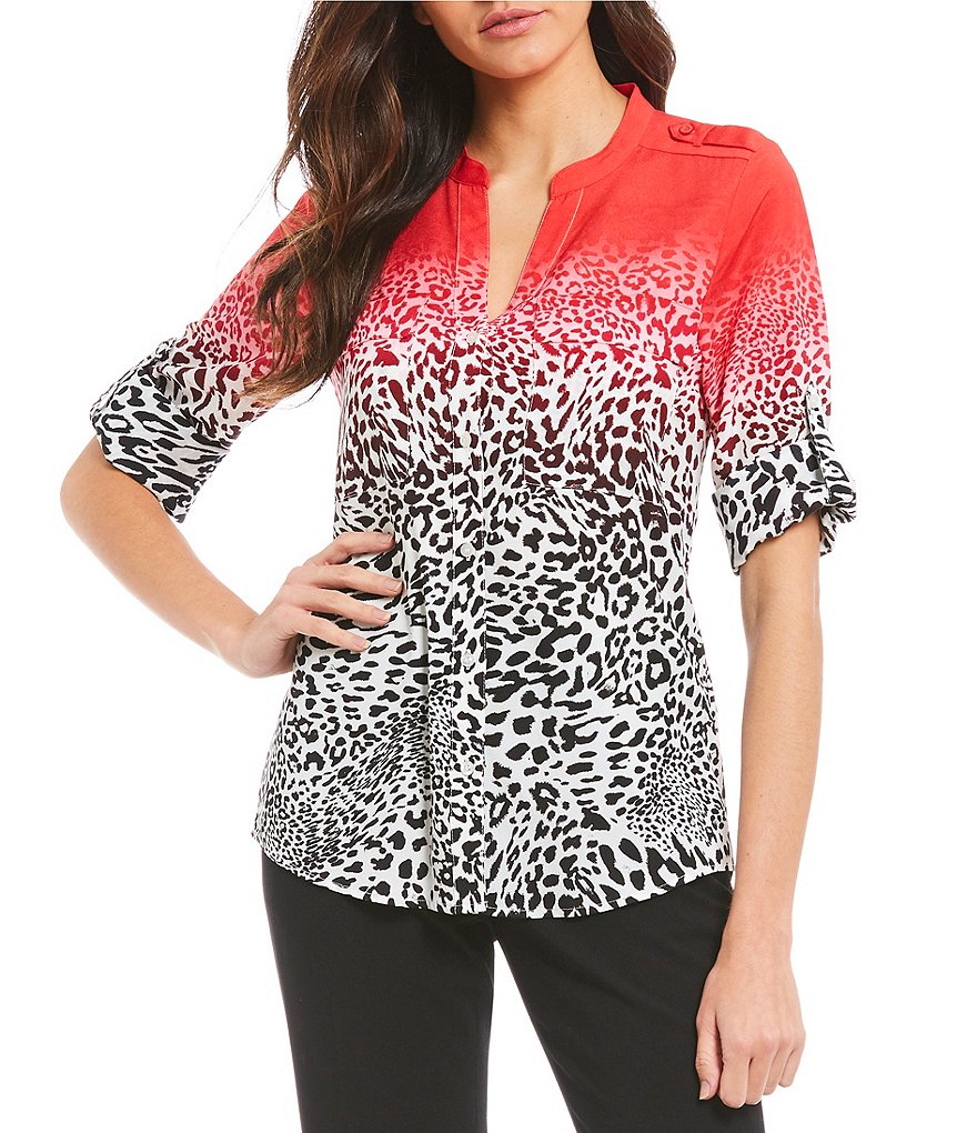 Calvin Klein Ombre Animal Print Roll-Tab Long Sleeve Blouse
