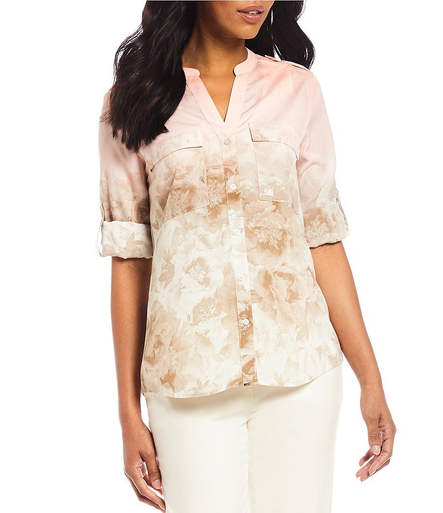 Calvin Klein Ombre Floral Print Roll-Sleeve Blouse