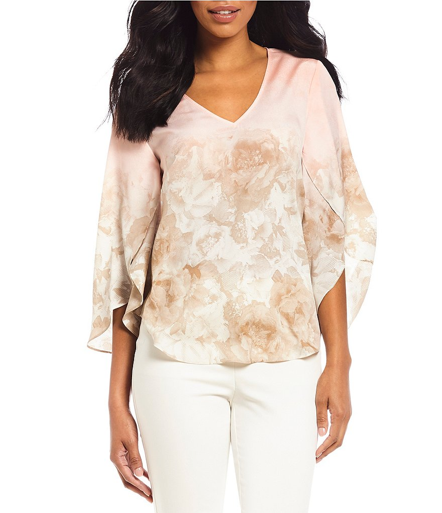 Calvin Klein Ombre Floral Print V-Neck Split Ruffle Bell Sleeve Top
