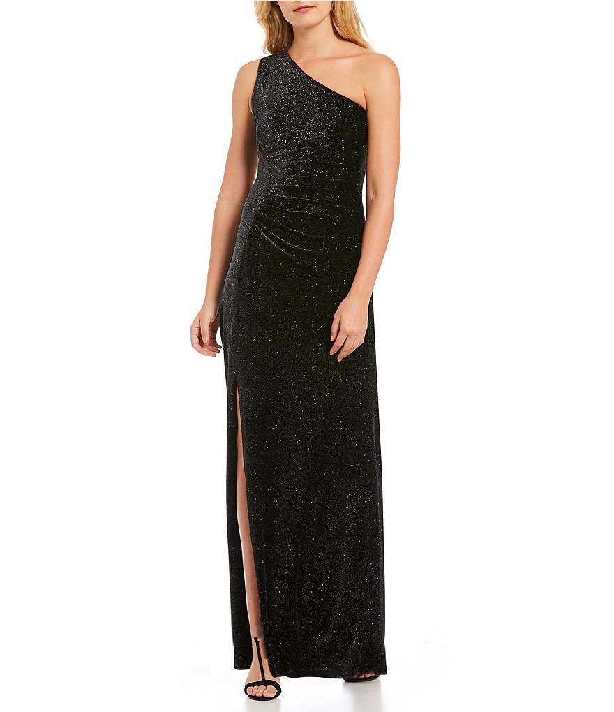 Calvin Klein One-Shoulder Sparkle Knit Gown