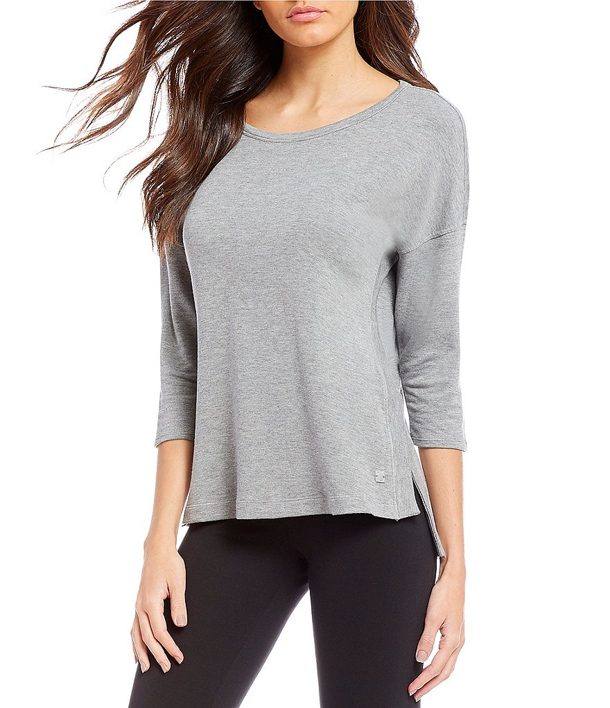 Calvin Klein Performance 3/4 Sleeve Hi-Low Side Slit Hem Knit Top