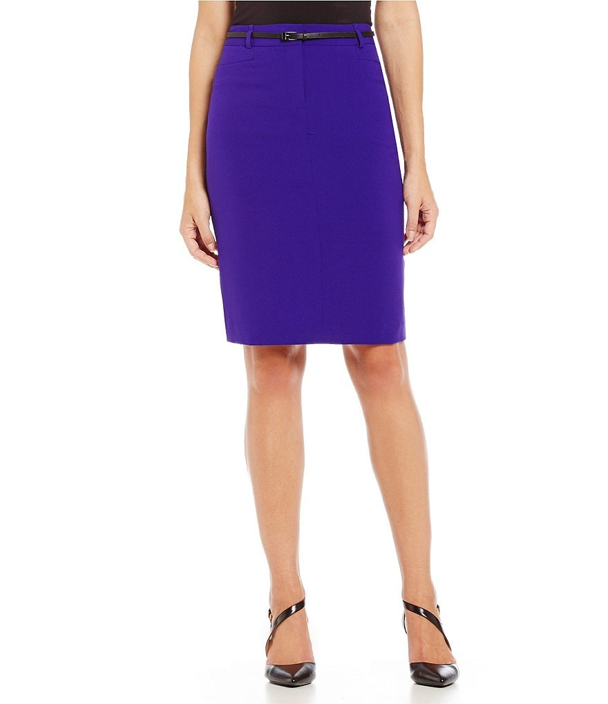Calvin Klein Petite Luxe Stretch Belted Pencil Skirt