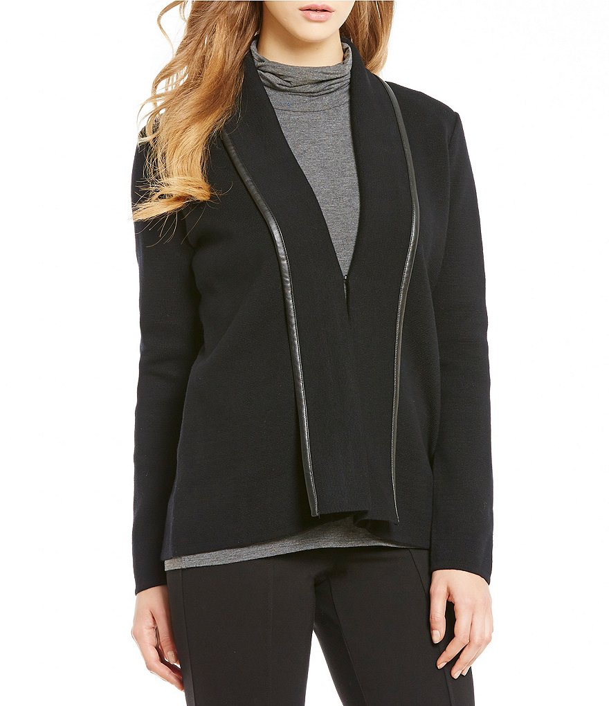 Calvin Klein Petites Faux Leather Trim Knit Jacket