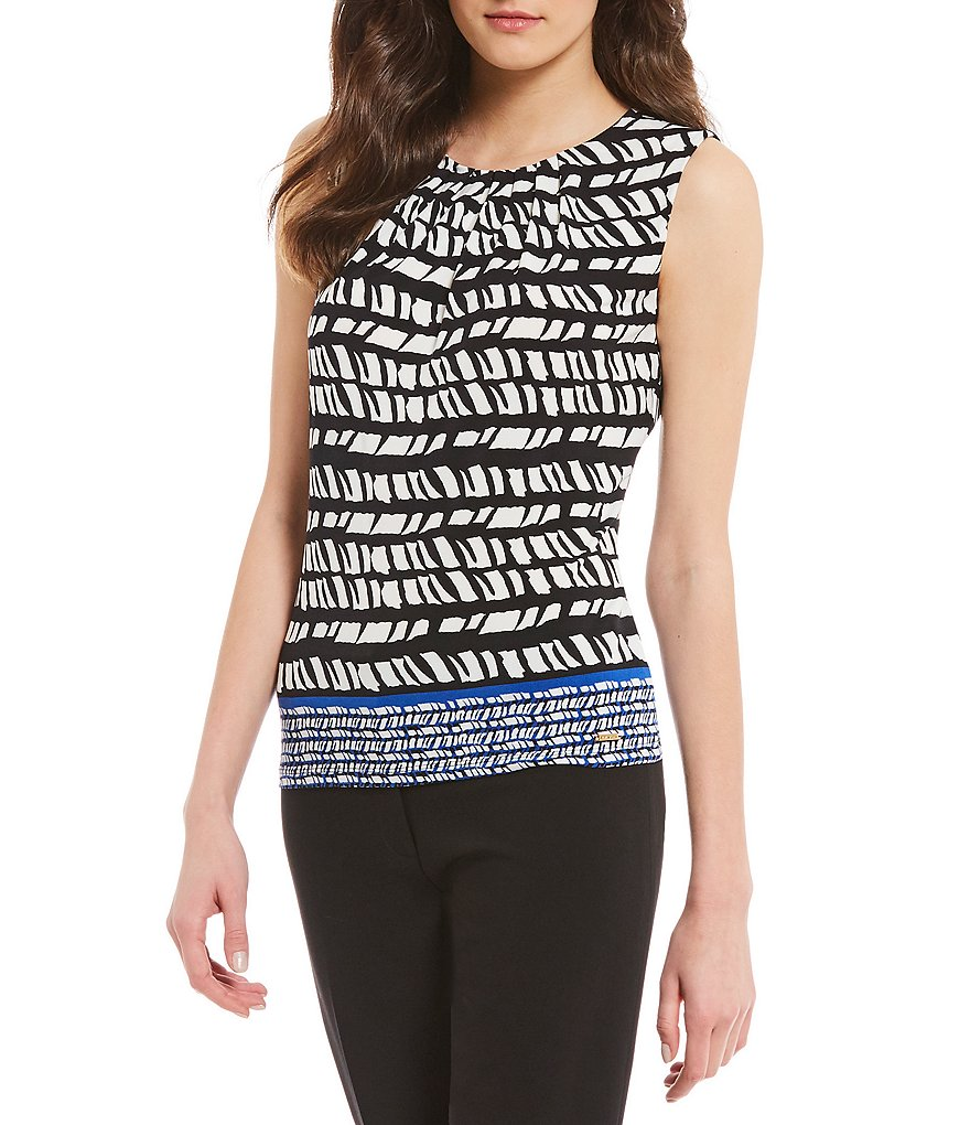 Calvin Klein Petites Geometric Border Stripe Print Matte Jersey Pleat Neck Shell