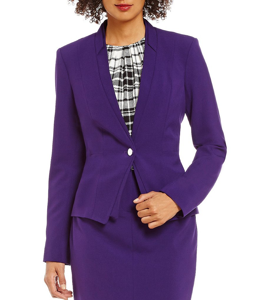 Calvin Klein Petites Luxe Stretch V-Neck One-Button Suit Jacket