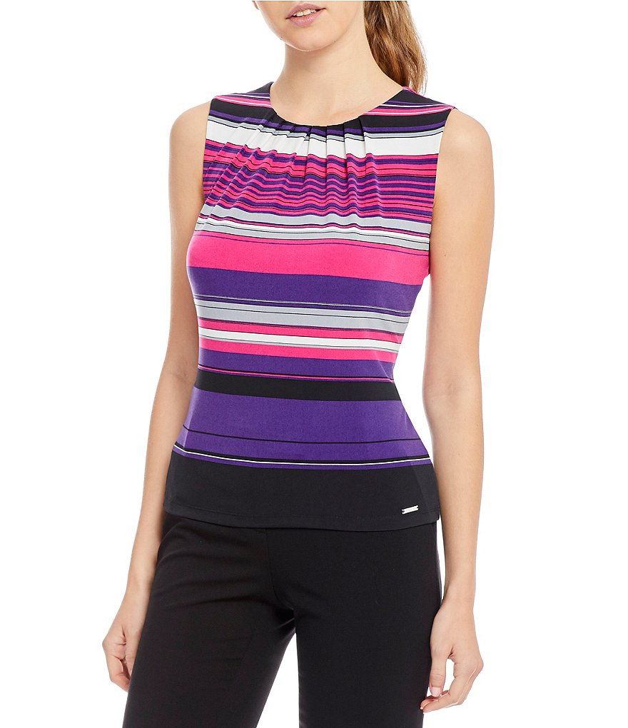 Calvin Klein Petites Multi Stripe Print Matte Jersey Pleat Neck Shell