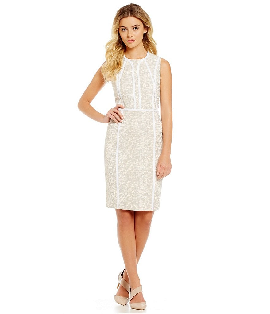 Calvin Klein Petites Piped Brocade Sheath Dress