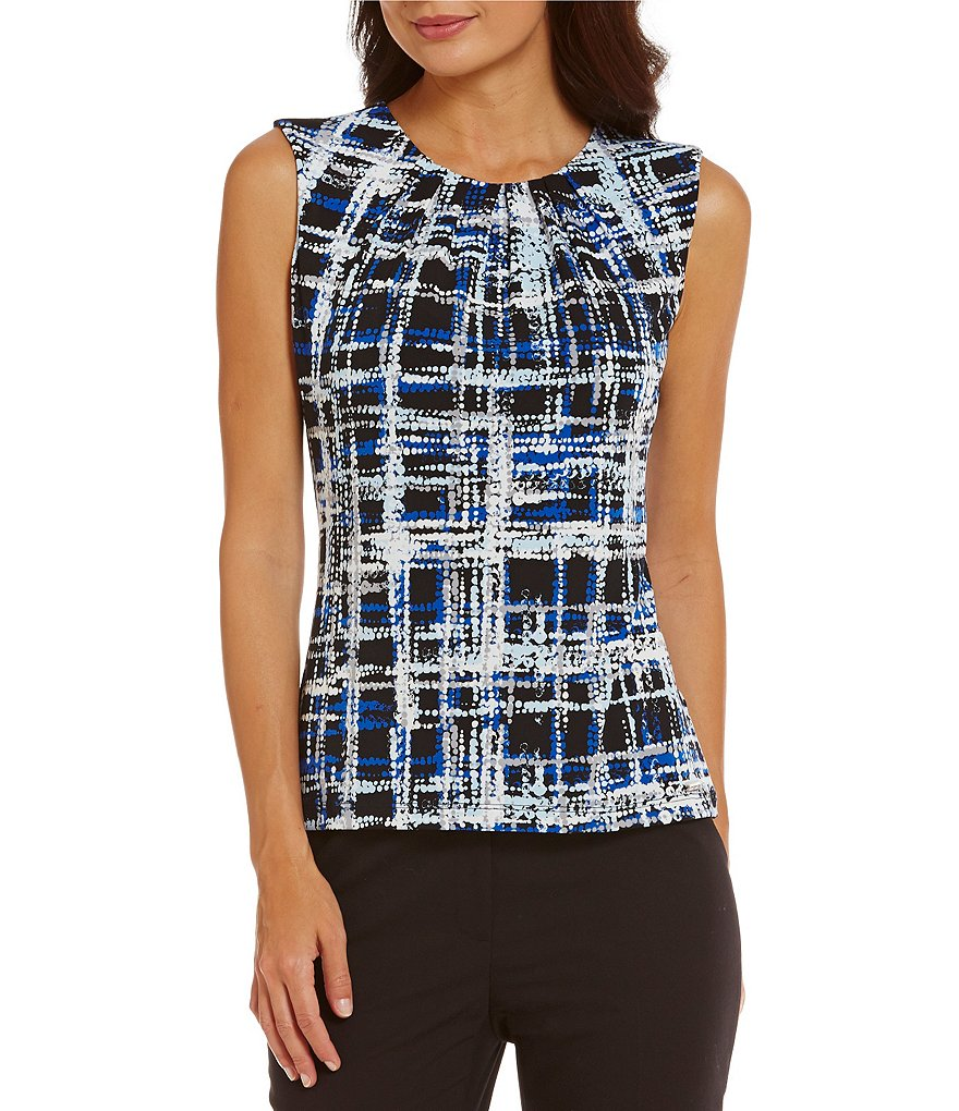 Calvin Klein Petites Pleat Neck Abstract Windowpane Print Matte Jersey Shell