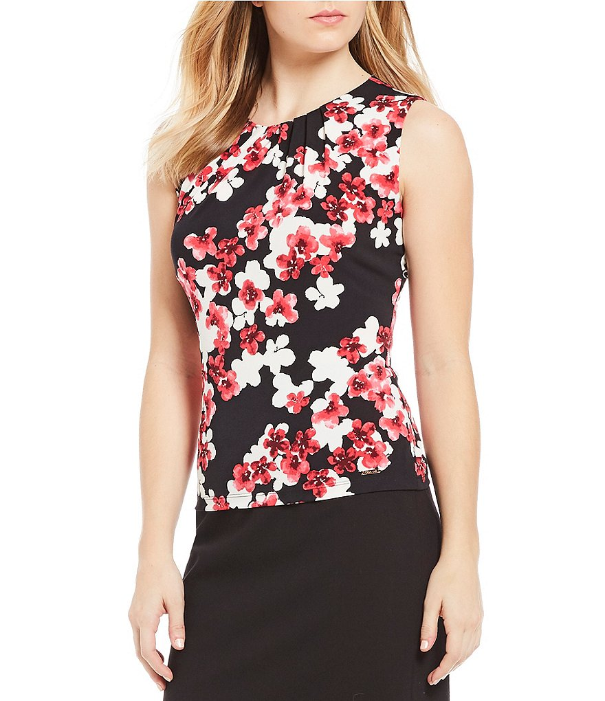 Calvin Klein Petites Scattered Floral Print Matte Jersey Pleat Neck Shell