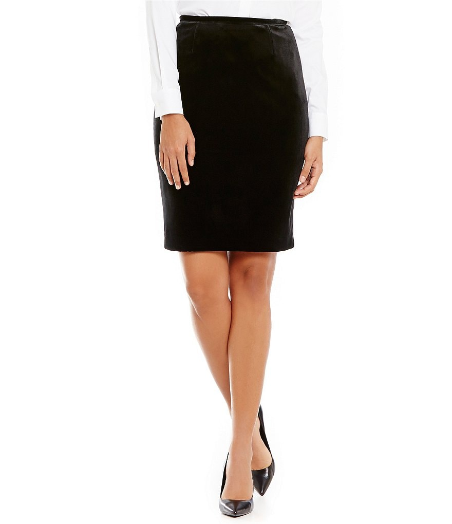 Calvin Klein Petites Velvet Suiting Pencil Skirt