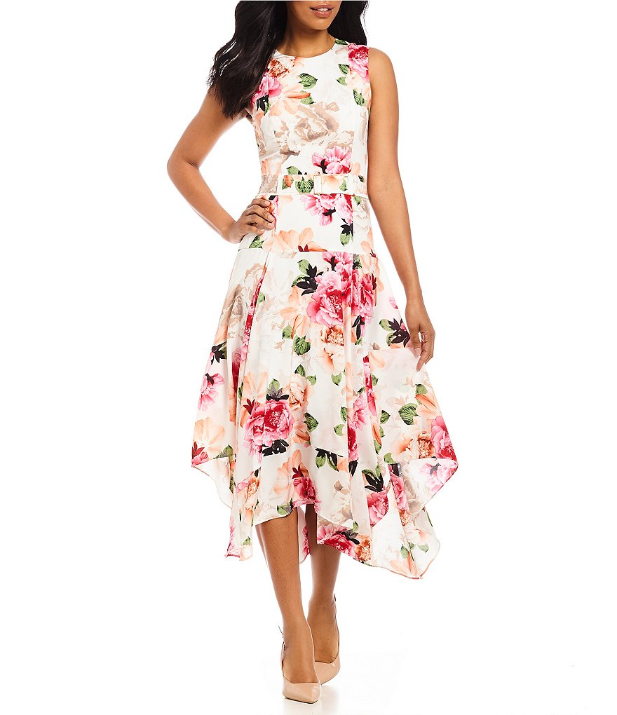 Calvin Klein Pieced Floral Print Belted Handkerchief Hem Midi Dress