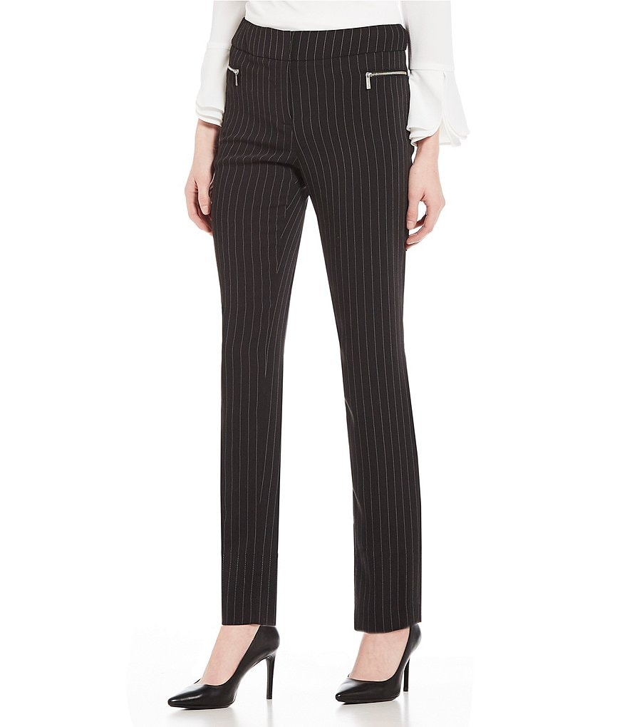 Calvin Klein Pinstripe Suiting Zipper Pocket Straight-Leg Pants