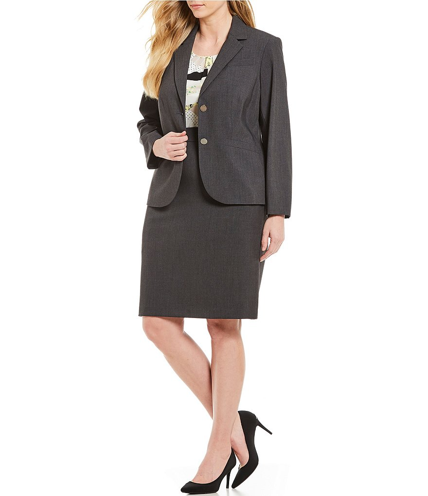 Calvin Klein Plus 2-Button Jacket & Pencil Skirt