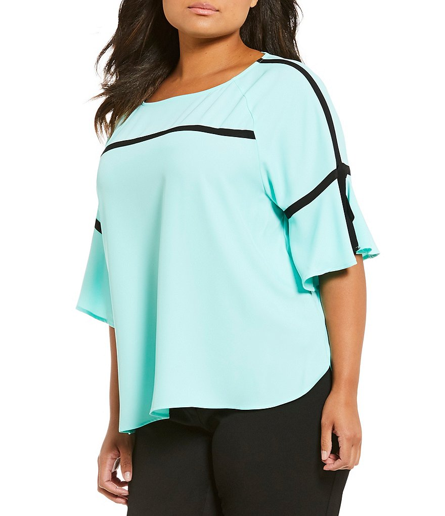 Calvin Klein Plus Bell Sleeve Contrast Trim Top