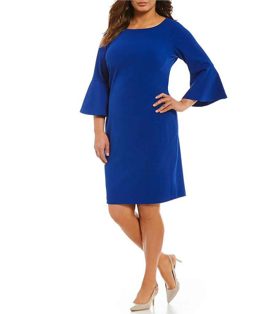 Calvin Klein Plus Bell-Sleeve Sheath Dress
