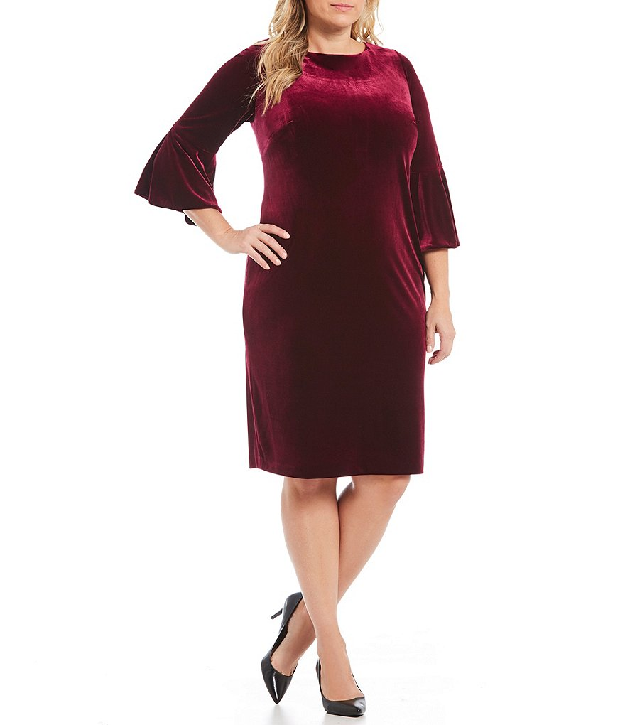 Calvin Klein Plus Bell-Sleeve Velvet Sheath Dress