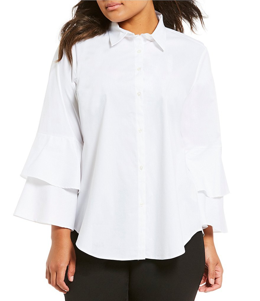 Calvin Klein Plus Double Tiered Ruffle Sleeve Poplin Button-Front Shirt