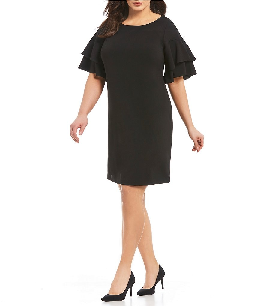 Calvin Klein Plus Double Tiered Sleeve Sheath Dress