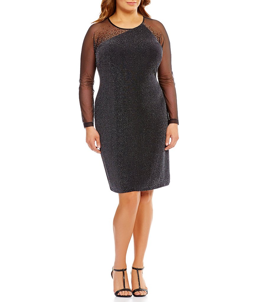 Calvin Klein Plus Illusion Long Sleeve Novelty Jersey Dress