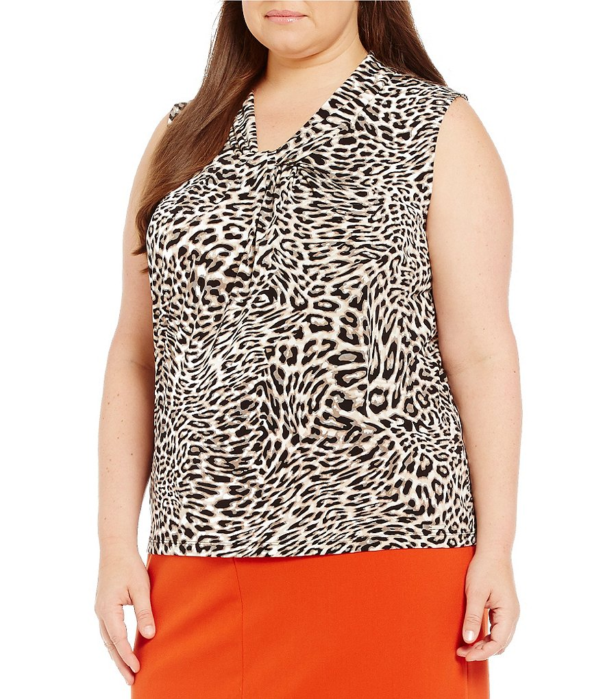 Calvin Klein Plus Leopard-Print Knotted V-Neck Matte Jersey Shell