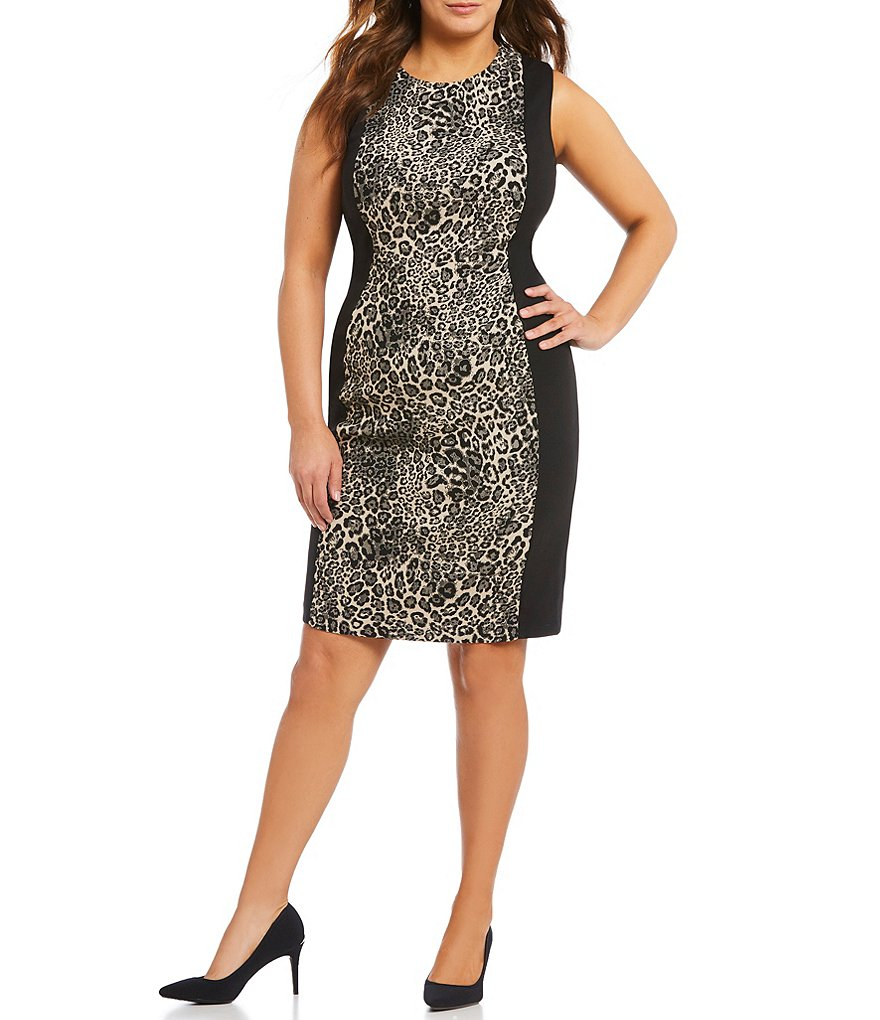 Calvin Klein Plus Leopard-Print Panel Sheath Dress