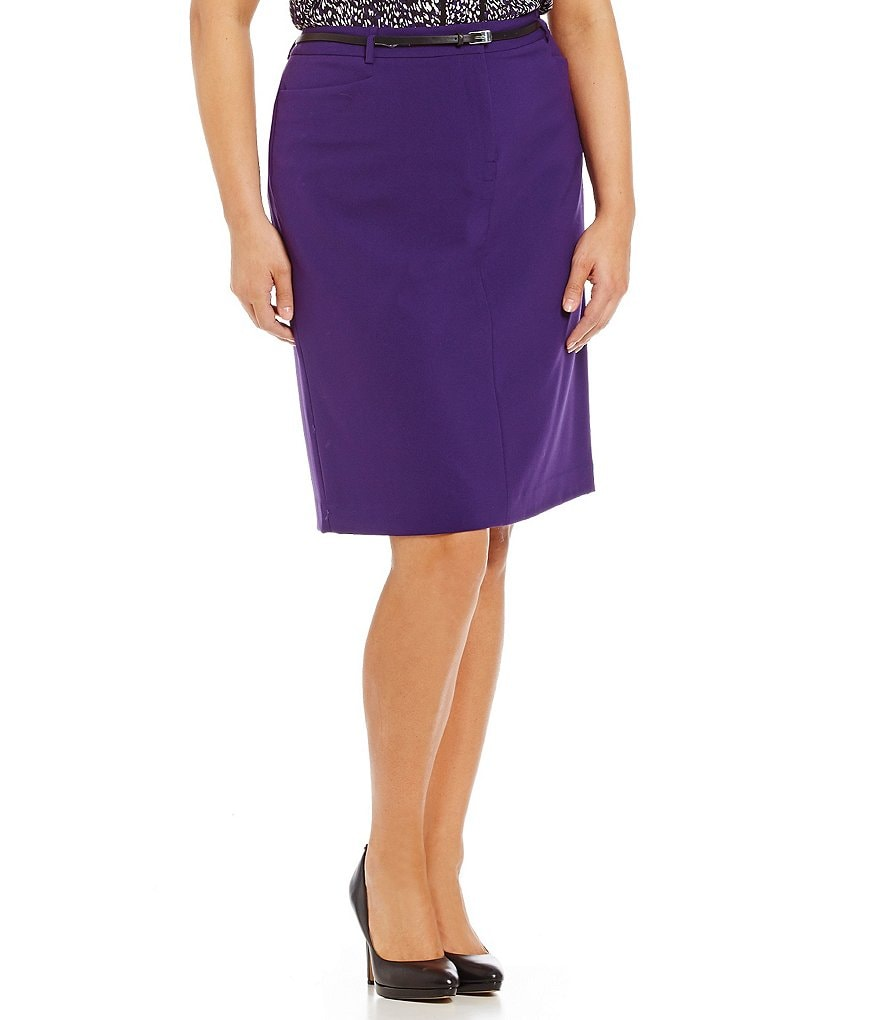 Calvin Klein Plus Luxe Belted Straight Pencil Skirt