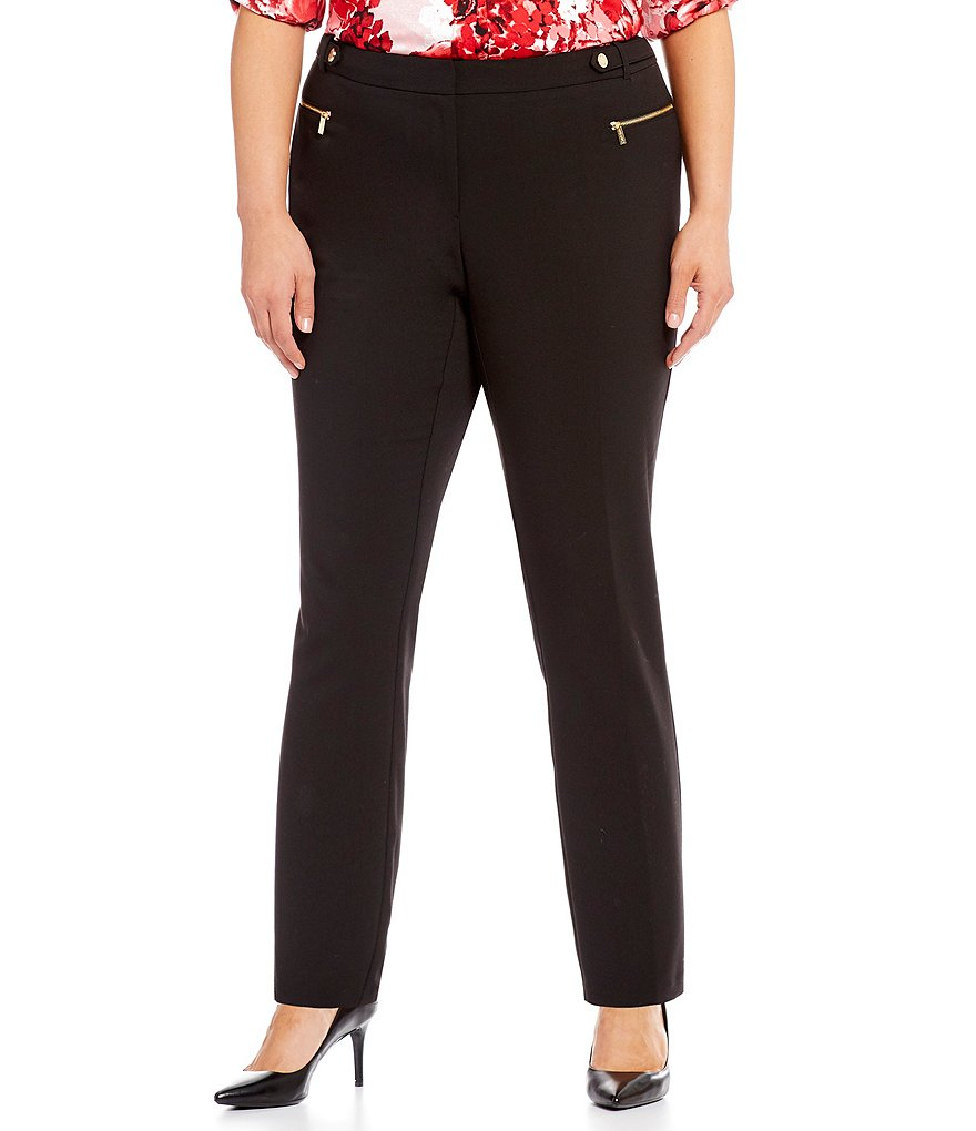 Calvin Klein Plus Luxe Stretch Side Waist Snap Tab Zip Pocket Pants