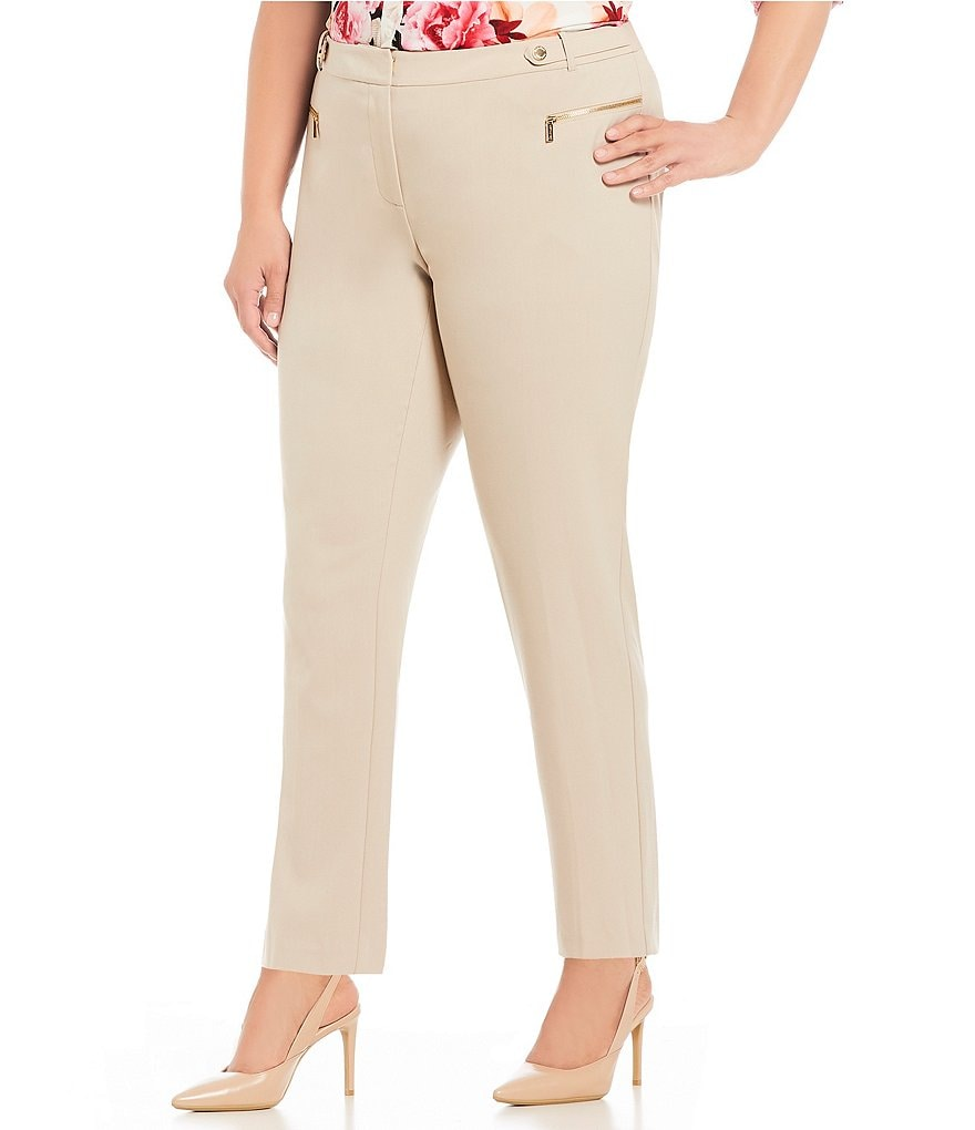 Calvin Klein Plus Luxe Stretch Side Waist Snap Tab Zip Pocket Ankle Pants