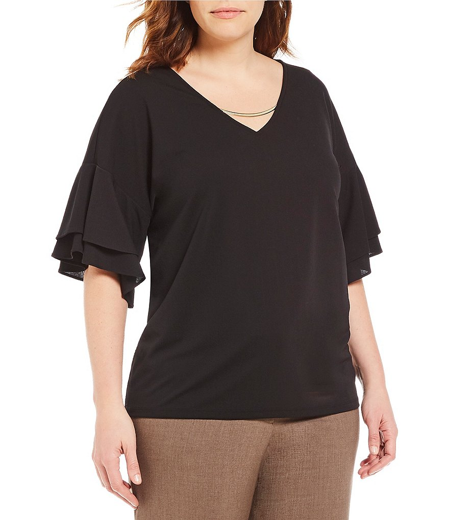 Calvin Klein Plus Metal Trim Tiered Ruffle Bell Sleeve Top