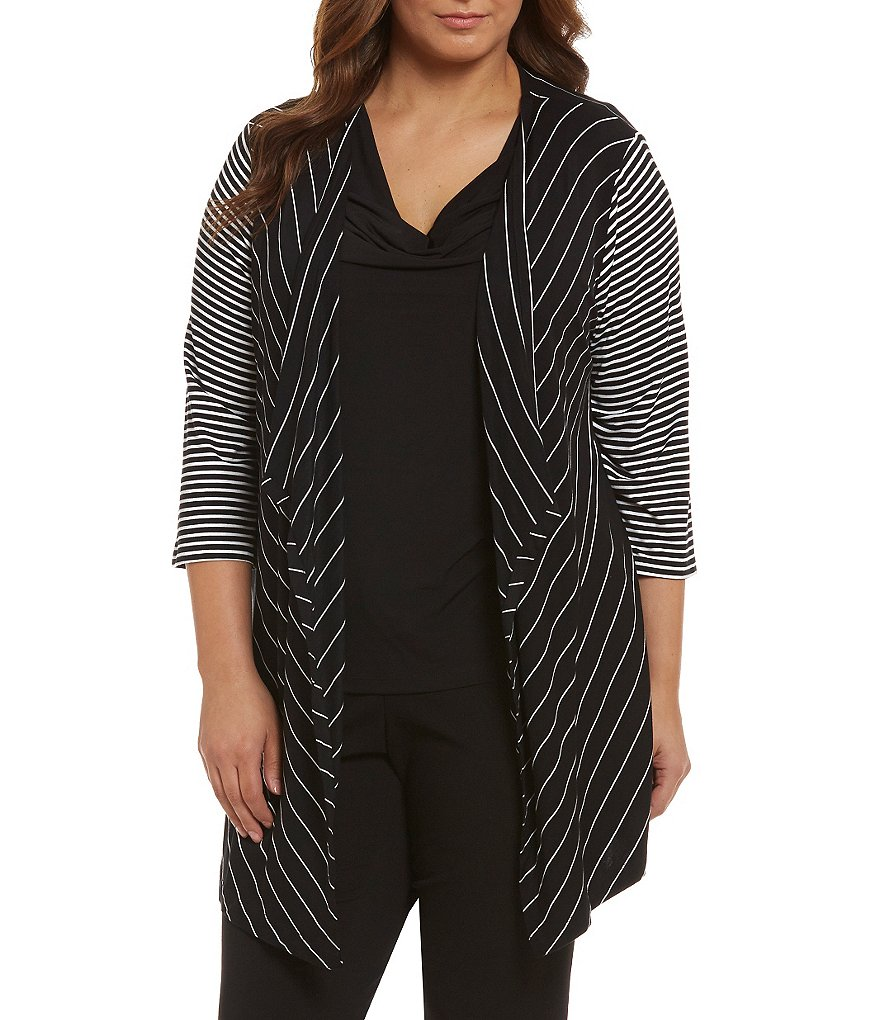 Calvin Klein Plus Mix Stripe Flyaway Cardigan
