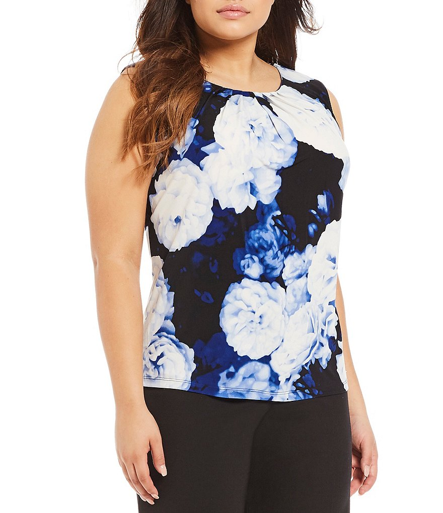Calvin Klein Plus Pleated Neck Floral Print Matte Jersey Cami
