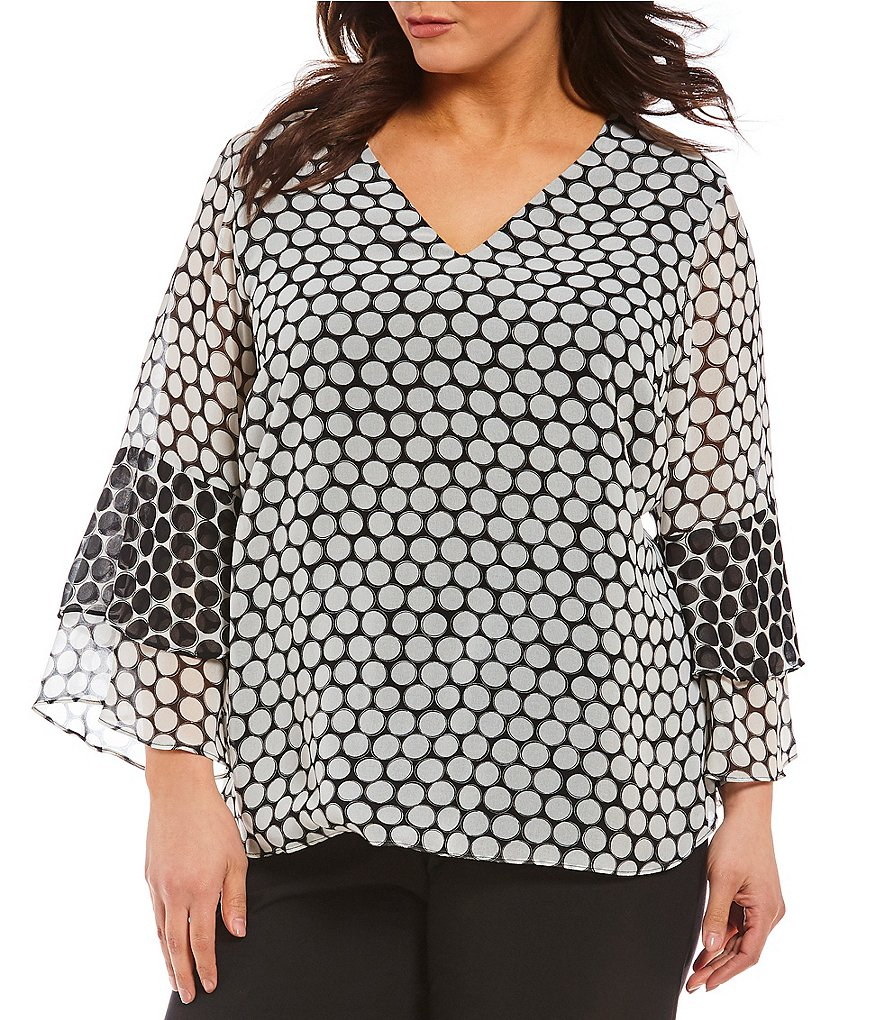 Calvin Klein Plus Printed V-neck Tiered Sleeve Top