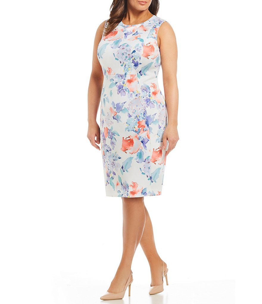 Calvin Klein Plus Scuba Floral Print Sheath Dress