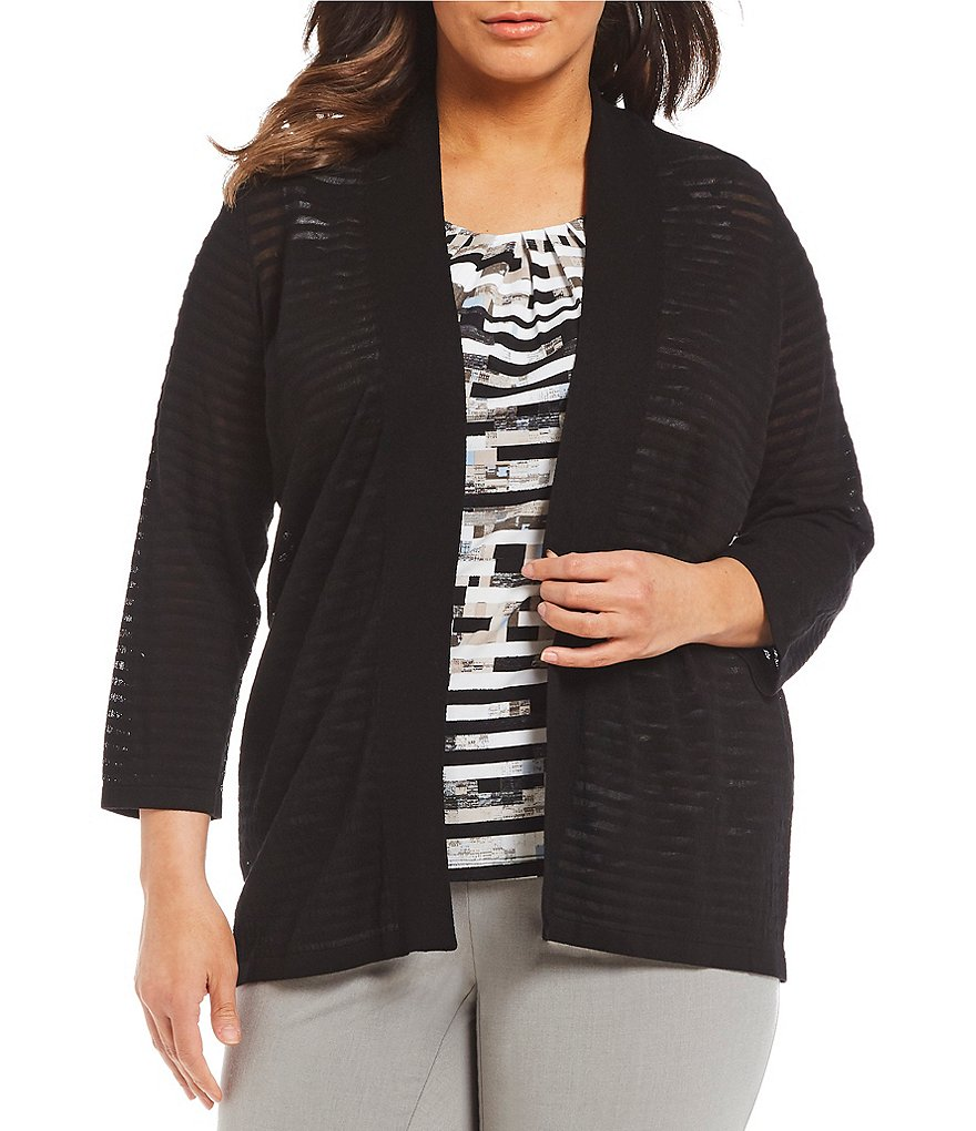 Calvin Klein Plus Shadow Stripe Shrug Cardigan