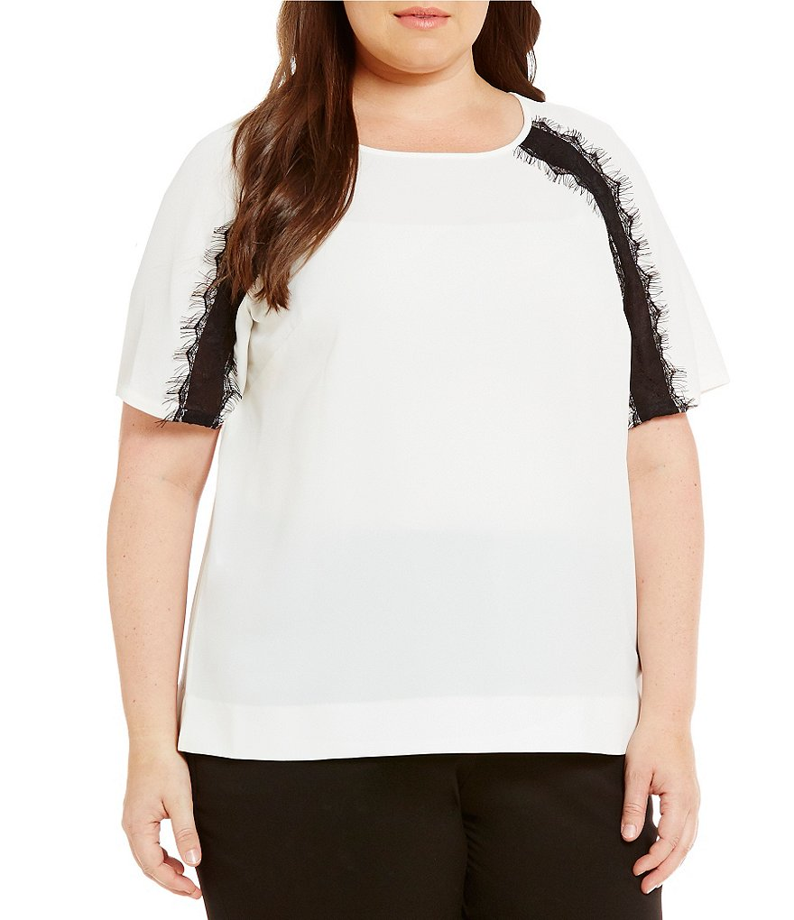 Calvin Klein Plus Short Sleeve Lace Embellished Top