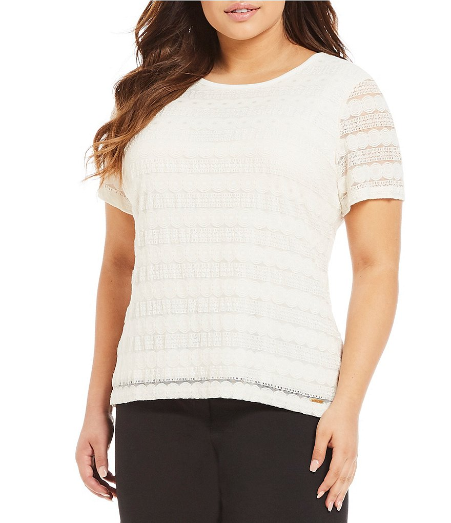 Calvin Klein Plus Short Sleeve Lace Top