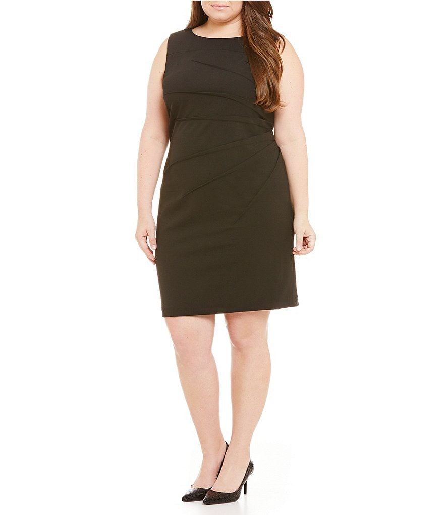 Calvin Klein Plus Starburst Side Ruche Scuba Sheath Dress