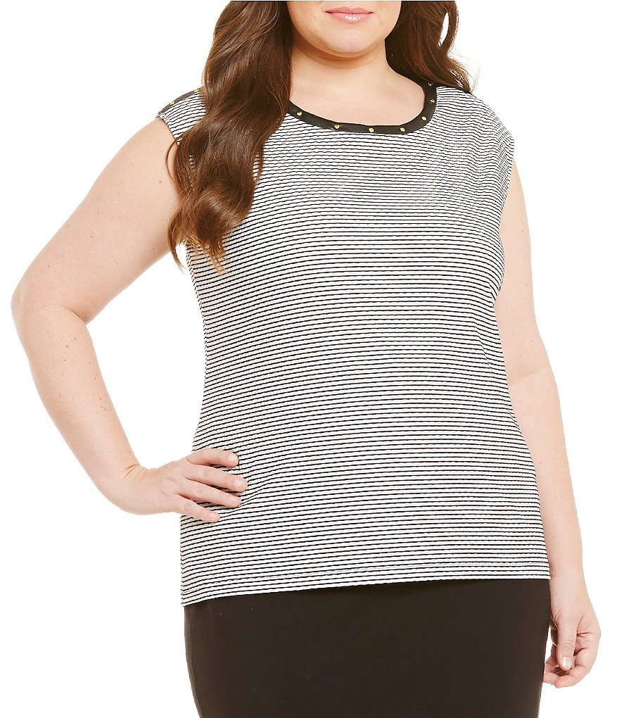 Calvin Klein Plus Textured Stripe with Grommets Sleeveless Top