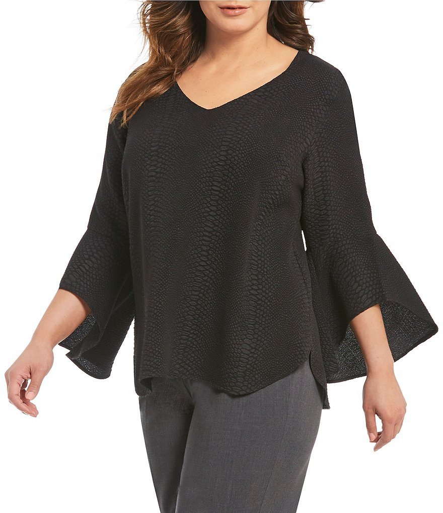 Calvin Klein Plus Textured V-Neck Flare Sleeve Top