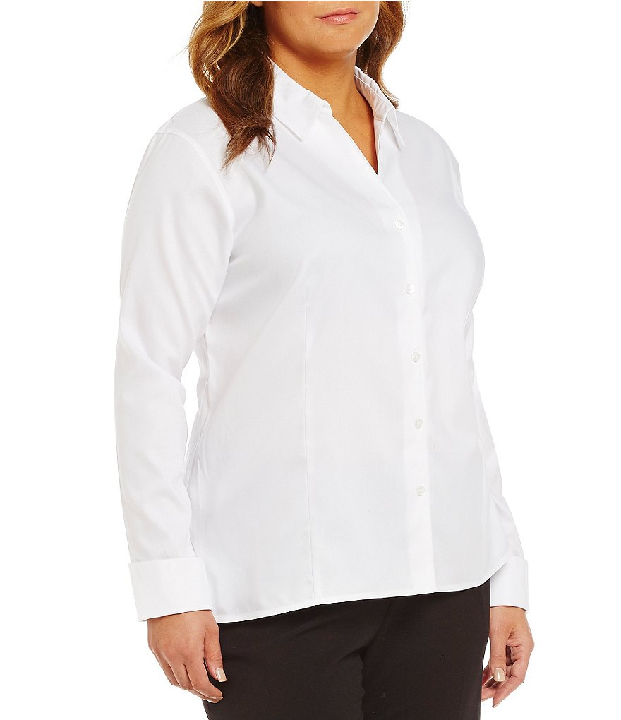 Calvin Klein Plus Wrinkle-Free Pinpoint Oxford Blouse