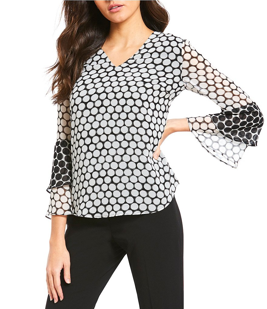 Calvin Klein Polka Dot Print V-Neck Contrast Tiered Bell Sleeve Tunic