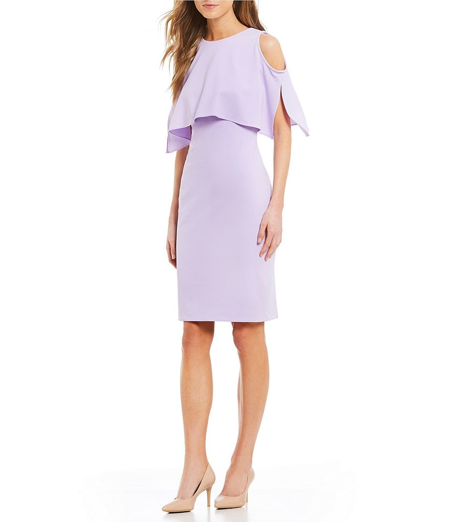 Calvin Klein Popover Sheath Cold Shoulder Short Sleeve Dress