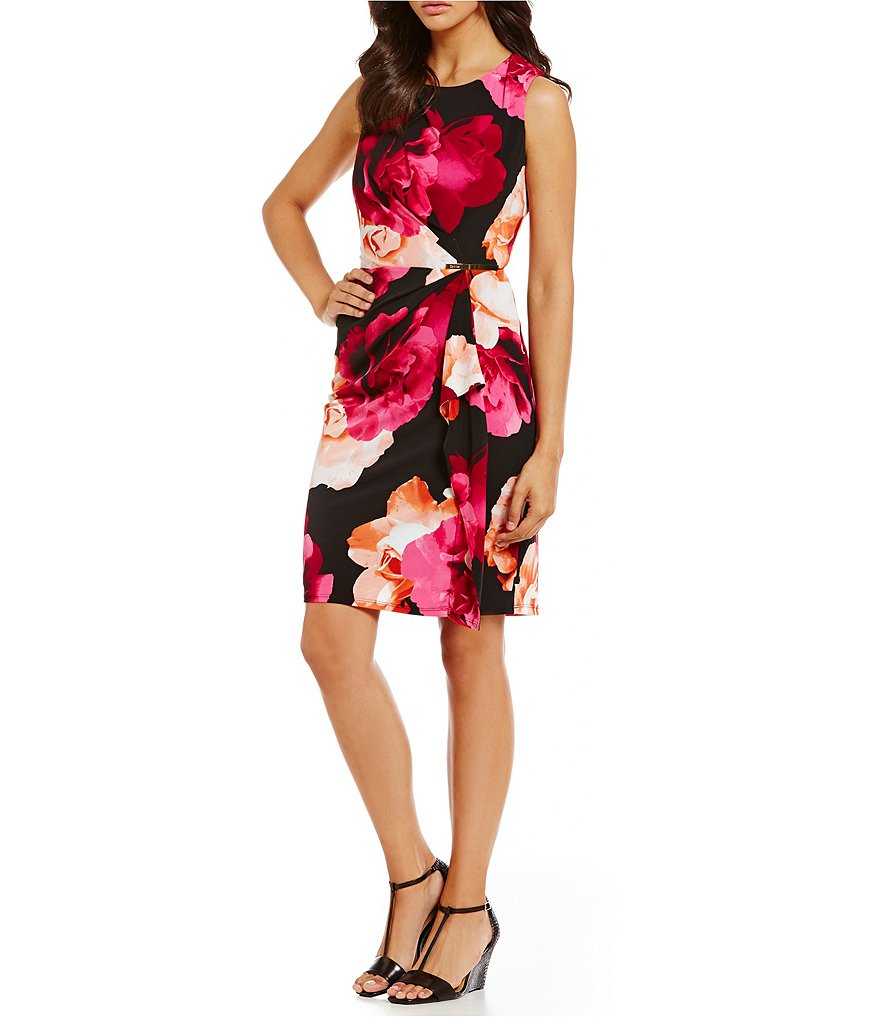 Calvin Klein Printed Matte Jersey Side Drape Sheath Dress