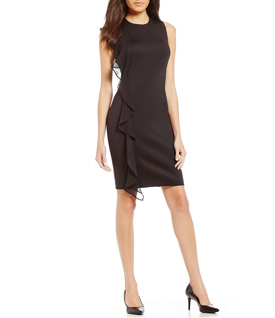 Calvin Klein Ruffle-Front Sheath Dress