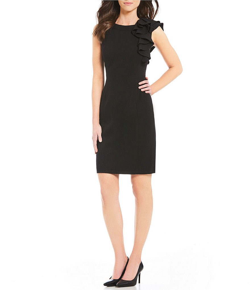 Calvin Klein Ruffled-Shoulder Sheath Dress