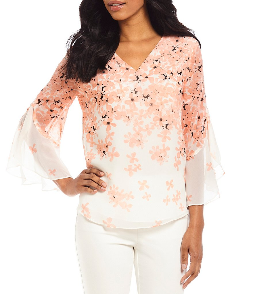 Calvin Klein Scattered Floral Print Chiffon V-Neck Split Bell Sleeve Top