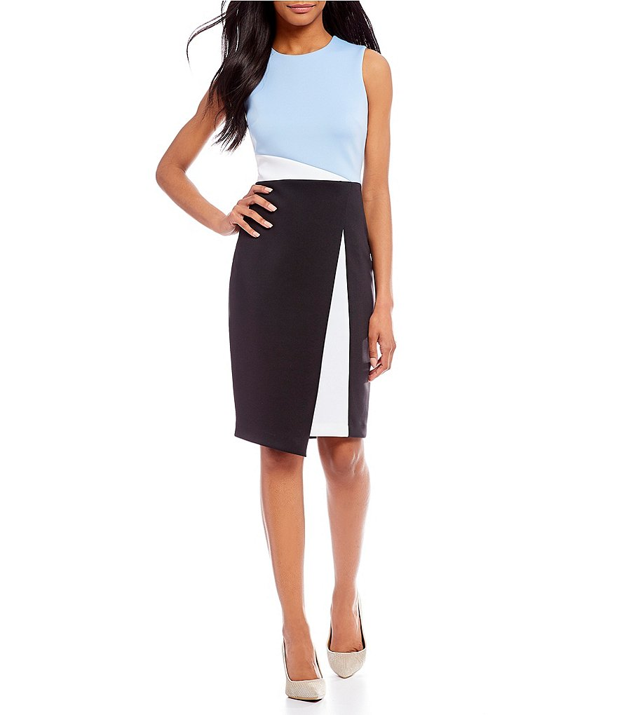 Calvin Klein Scuba Asymmetrical Colorblock Dress